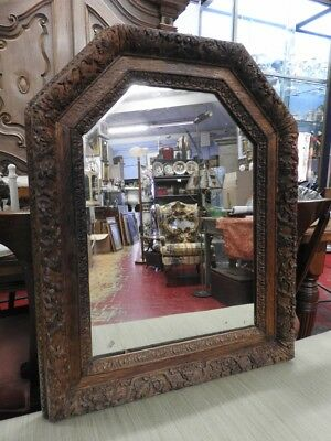 Authentic Antique Mirror Of 700 With Wood Frame Carved Period 18 Century