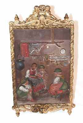Antique French Round Cast Iron Wall Plaque Figural Frenchman With Bag Of Money Metalware