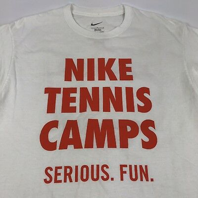 c7addad01 NIKE TENNIS CAMP Just Do It White Dri-Fit Athletic Work Out Tee T ...