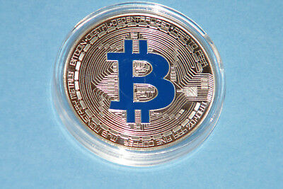 """BIT COIN Silver Plated BLUE Letter """"B"""" Commerative Bitcoin Token NEW in case!"""