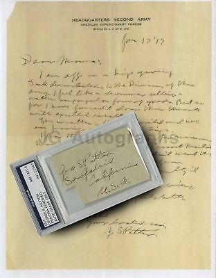 General George Patton - Autograph from 1919 - PSA/DNA Slabbed w/ Copy of Letter
