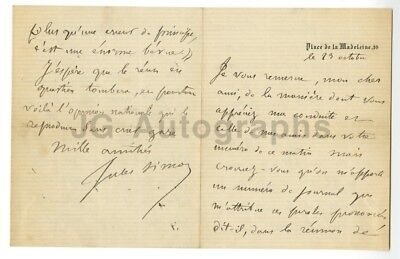 Jules Simon 19th Century Prime Minister of France Authentic Autographed Letter