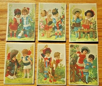 1882 Victorian Trade Card Set Lot of 6 GREAT ATLANTIC & PACIFIC TEA CO Children