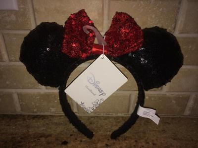 New With Tags Nwt Disney Minnie Mouse Ears Red Bow With Sequins