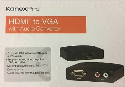 KANEX PRO HDMI to VGA with Audio Converter with Power Adapter - Ships Free !