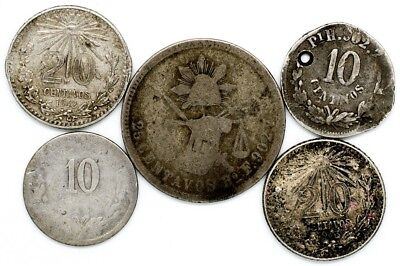 Lot of 5 Mexico Silver Coins (1874-1943) - Holed/AU - 10/20 Centavos & 25 Cents