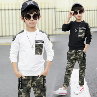 UK STOCK Kids Baby Boy Sweatshirt Clothes T-shirt Top Camo Leggings Outfits Sets
