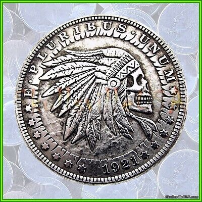 1921 Hobo Morgan Dollar Coin & Free Case - Indian Chief Skull - Rare! Skeleton!