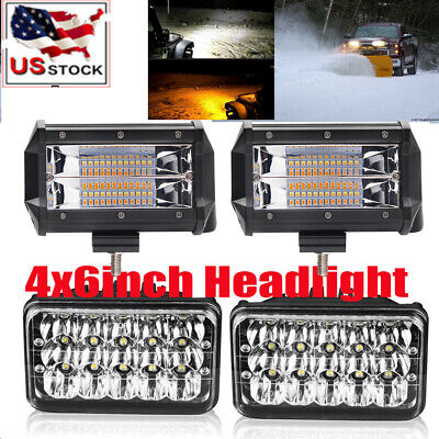 2x4x6 LED Headlight + 2x 5'' Pod for BLIZZARD Snowplow Snow Plow 680LT 720LT 810