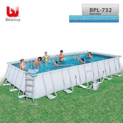 """BESTWAY Above Ground Steel Frame Swimming Pool 22' x 12'x52"""" with Sand Filter"""
