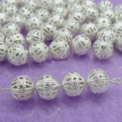 100pcs 10mm Wholesale Lots Silver Plated Hollow Spacer Beads Jewelry Findings
