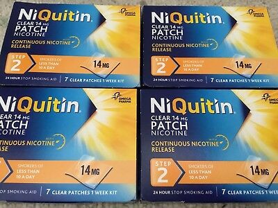 Niquitin Clear 14 Mg Nicotine Patch Step2 7 Clear Patches 4 Boxes Available New