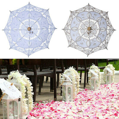Retro Wedding Party Lace Umbrella Parasol Bridal Photography Props White Beige