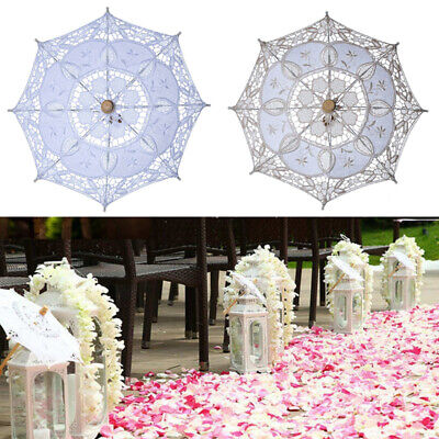 Wedding Party Lace Umbrella Parasol Bridal Photography Props White Beige