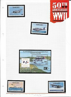 Vanuatu 1992 Pacific War set + min sheet MNH