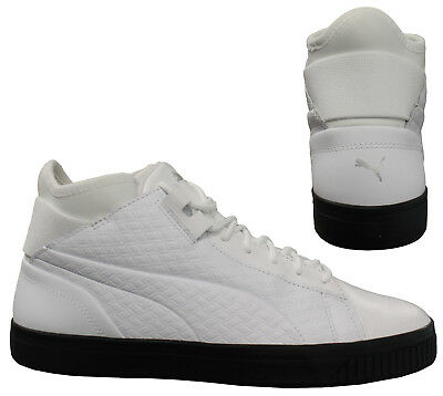 Puma Play B&W Lace Up White Leather Sock Fit Mens Mid Trainers 362559 01 D57