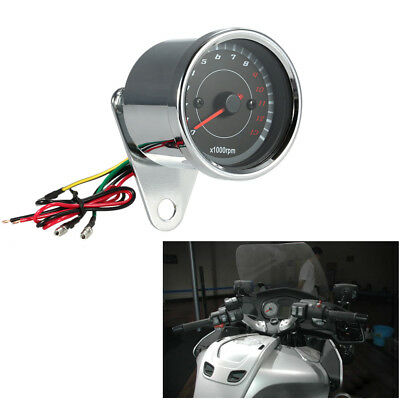 12V Motorcycle Tachometer Meter LED Backlight 13K RPM Shift Universal