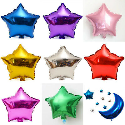 "10/50/100Pcs 5"" Star Foil Balloons Festival Birthday Party Wedding Home Decor UK"