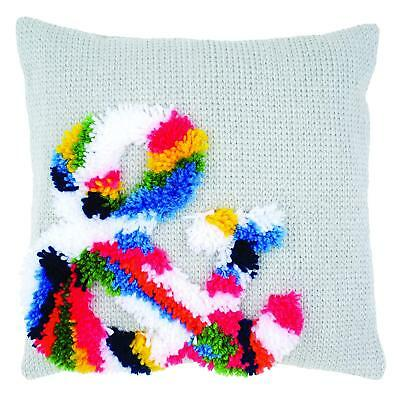 Vervaco Latch Hook & Chain Stitch Cushion Kit. Printed canvas c/w yarns & back