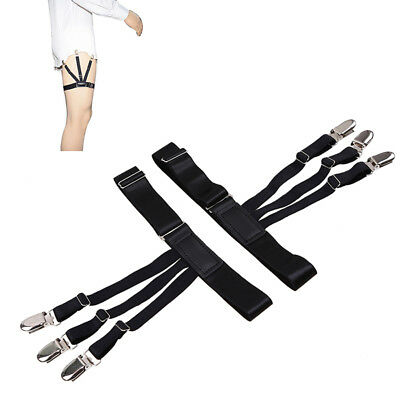 1 Pair Shirt Stays Mens Garter Suspender Uniform Holder Non-Slip Locking Clamps