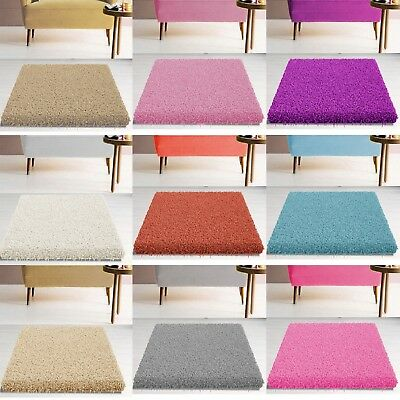 Premium Quality Soft Large X Small Thick Shaggy Rug Plain 5Cm Pile Bedroom Rugs