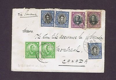 Chile 1930 old used stamps on cover to Montreal Canada AMBULANCIA