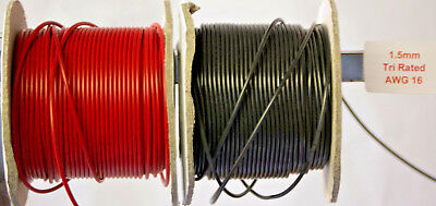 Tri Rated Electrical Cable 1.5mmsq Red & Black Cut to Length or Full Reels 21amp