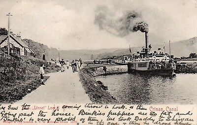 Vintage Early Postcard.s.s.linnet At Lock 8 Crinan Canal.scotland.