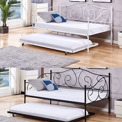 French Day Bed and Trundle Black White Metal Frame with 1 X Mattress