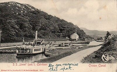 Vintage Early Postcard.s.s.linnet At Lock 7 Cairnbaan.crinan Canal.scotland.
