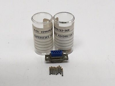 2 NEW AMP M24308/2-1F Mil-Spec D-sub Connector 9- Pin w/ M39029/63-368 Gold Pins