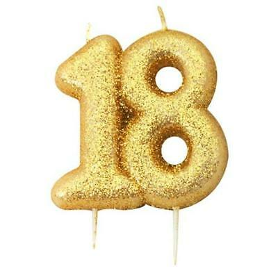 18th Birthday Anniversary Gold Glitter Age Number Candle Party Cake Topper Gift