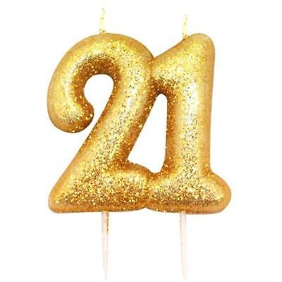 21st Birthday Anniversary Gold Glitter Age Number Candle Party Cake Topper Gift