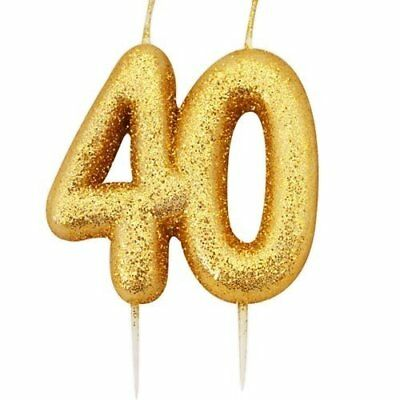 40th Birthday Anniversary Gold Glitter Age Number Candle Party Cake Topper Gift