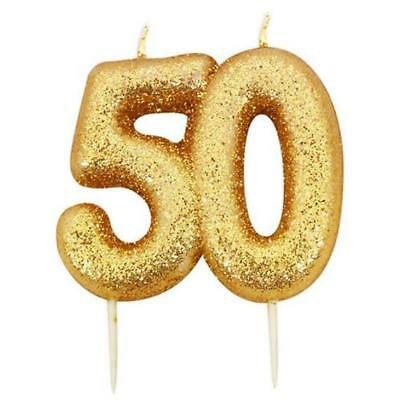50th Birthday Anniversary Gold Glitter Age Number Candle Party Cake Topper Gift