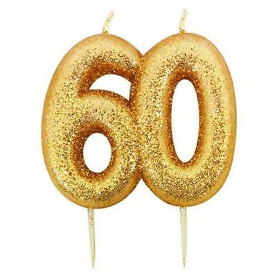 60th Birthday Anniversary Gold Glitter Age Number Candle Party Cake Topper Gift