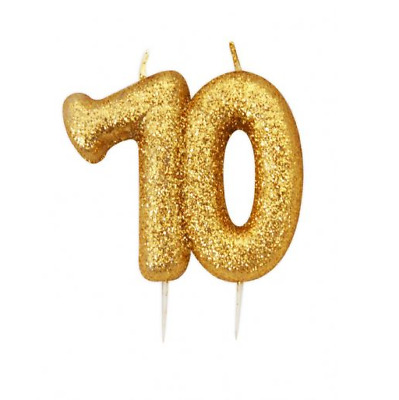 70th Birthday Anniversary Gold Glitter Age Number Candle Party Cake Topper Gift