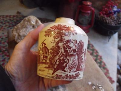 Old Rustic Primitive Antique Transferware Jar Father Catching Courting Couple