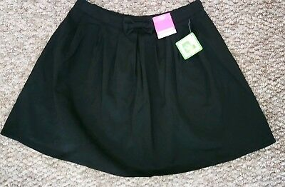 *** Bnwt George Flippy Black School Skirt With Bow Age 10-11 Years ***