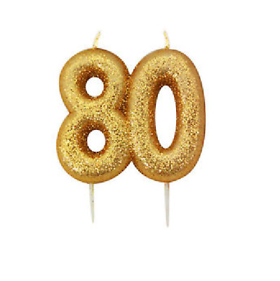 80th Birthday Anniversary Gold Glitter Age Number Candle Party Cake Topper Gift