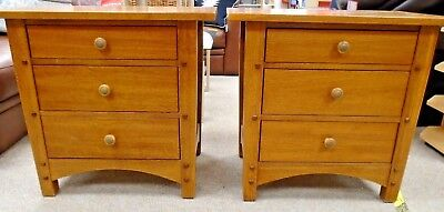 Pair Of THOMASVILLE Impressions Solid Dark Oak Bedside Table / Cabinets - R26