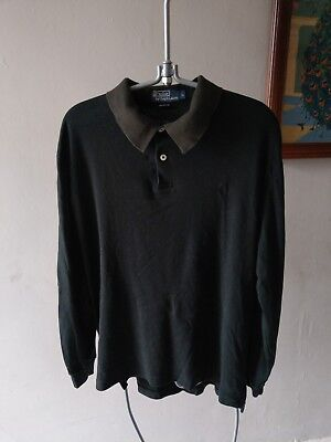 Polo By Ralph Lauren Mens Mans Long Sleeved Polo Rugby Shirt T-Shirt Top L Large