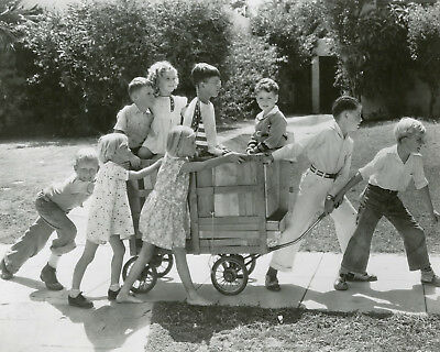 Shirley Temple & kids get pulled in a cart child movie star 8x10 photo