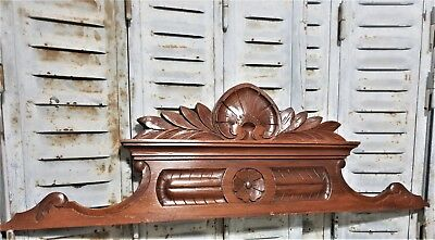 Achitectural scroll leaves flower pediment antique french wooden salvaged crest