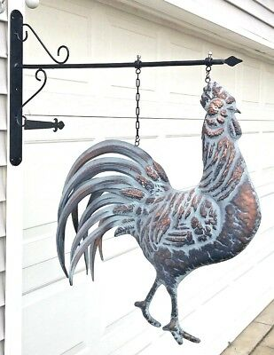 STRUTTING ROOSTER on WALL HANGING BRACKET Lg Detailed 3D in AGED COPPER FINISH
