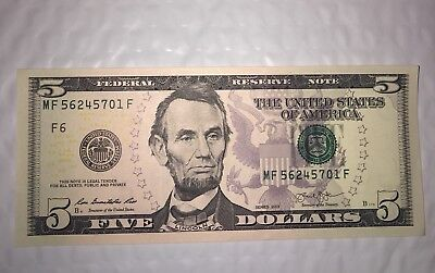 One RARE US Mint UNCIRCULATED $5 Five Dollar Bill LUCKY COLLECTIBLE Consecutive