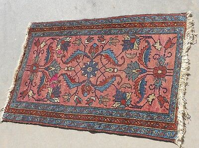 Antique Middle Eastern Oriental Persian  Hand Made Small Red Rug 25 X 36