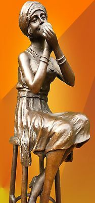 ART DECO, BRONZE Little Rouge SIGNED D.H.Chiparus STATUE FIGURE GIRL HOT CAST