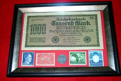 WW2 German Rare 5 Rp Coin & Stamps 1,000 banknote in frame