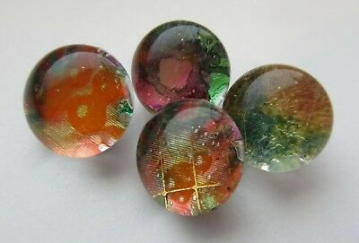 Amazing Lot of 4 Old Antique~ Vtg GLASS Kaleidoscope BUTTONS Vibrant Color (g10)